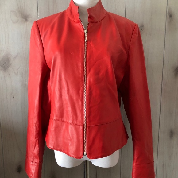 Austin Reed Jackets Coats Austin Reed Soft Red Leather Jacket Nice Poshmark